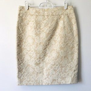 Cynthia Rowley Ivory Embroidered Pencil Skirt